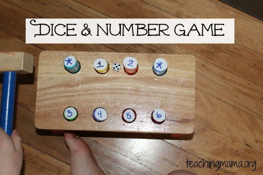 Hands On Math Activities for Preschoolers Dice   Number Game
