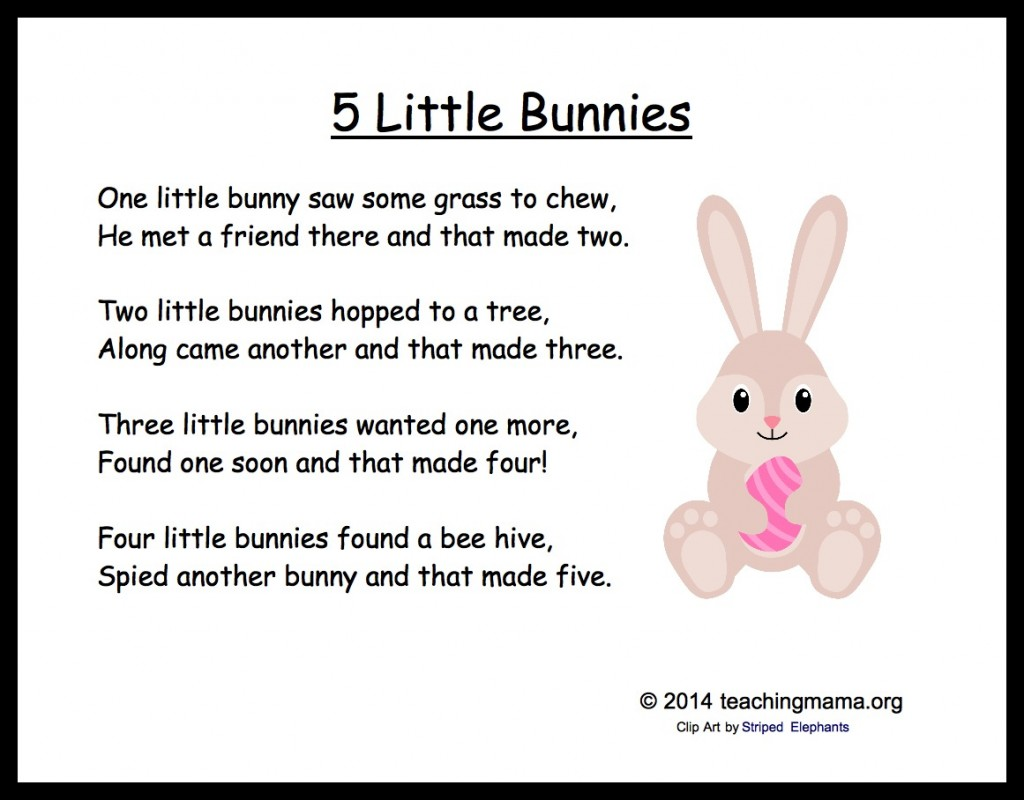 5 Bunny Chants For Preschoolers