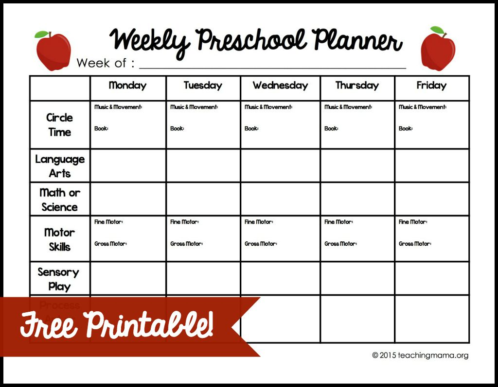 Weekly Lesson Plan Template For Preschool Lessons