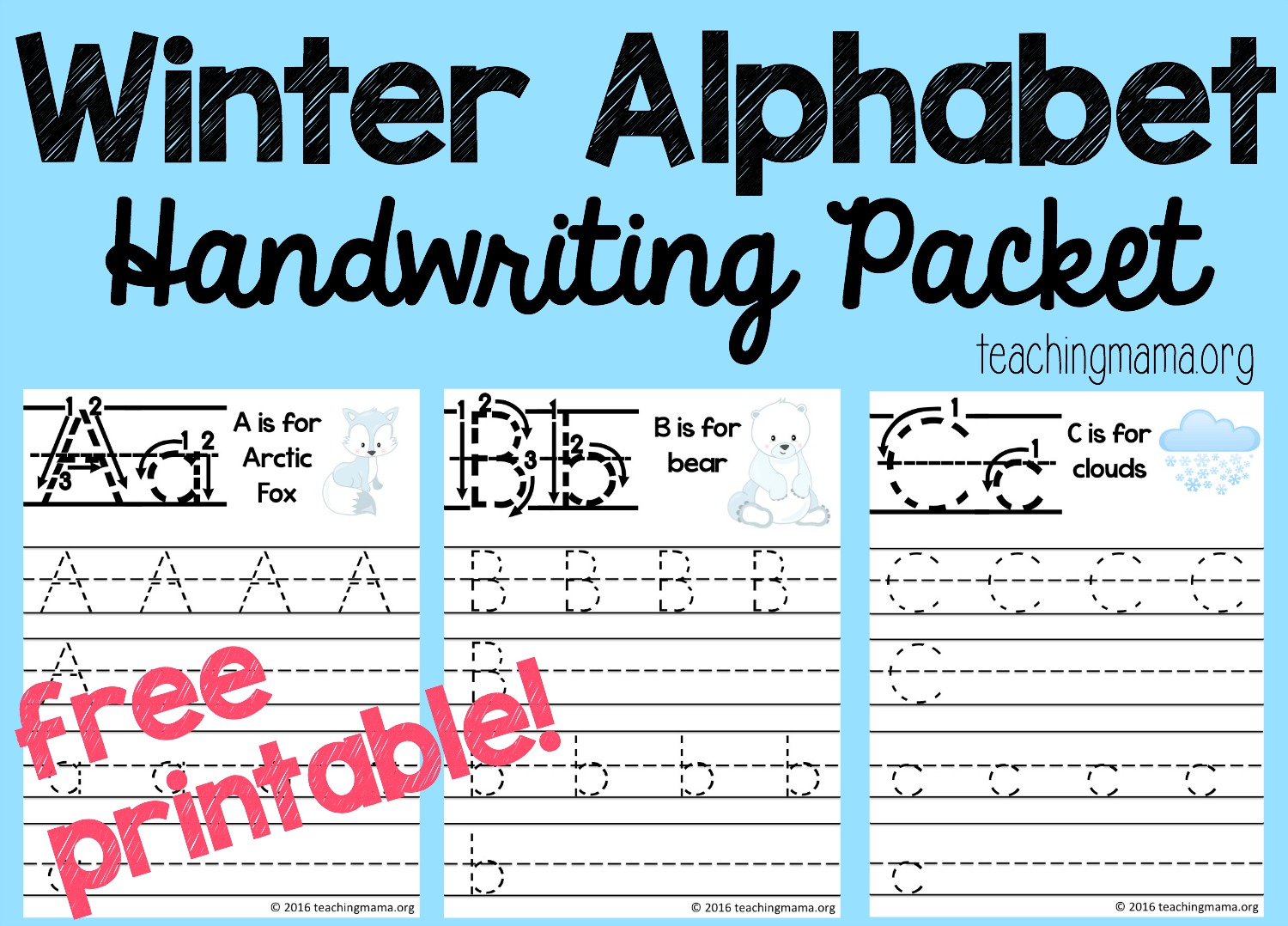 Winter Alphabet Handwriting Packet