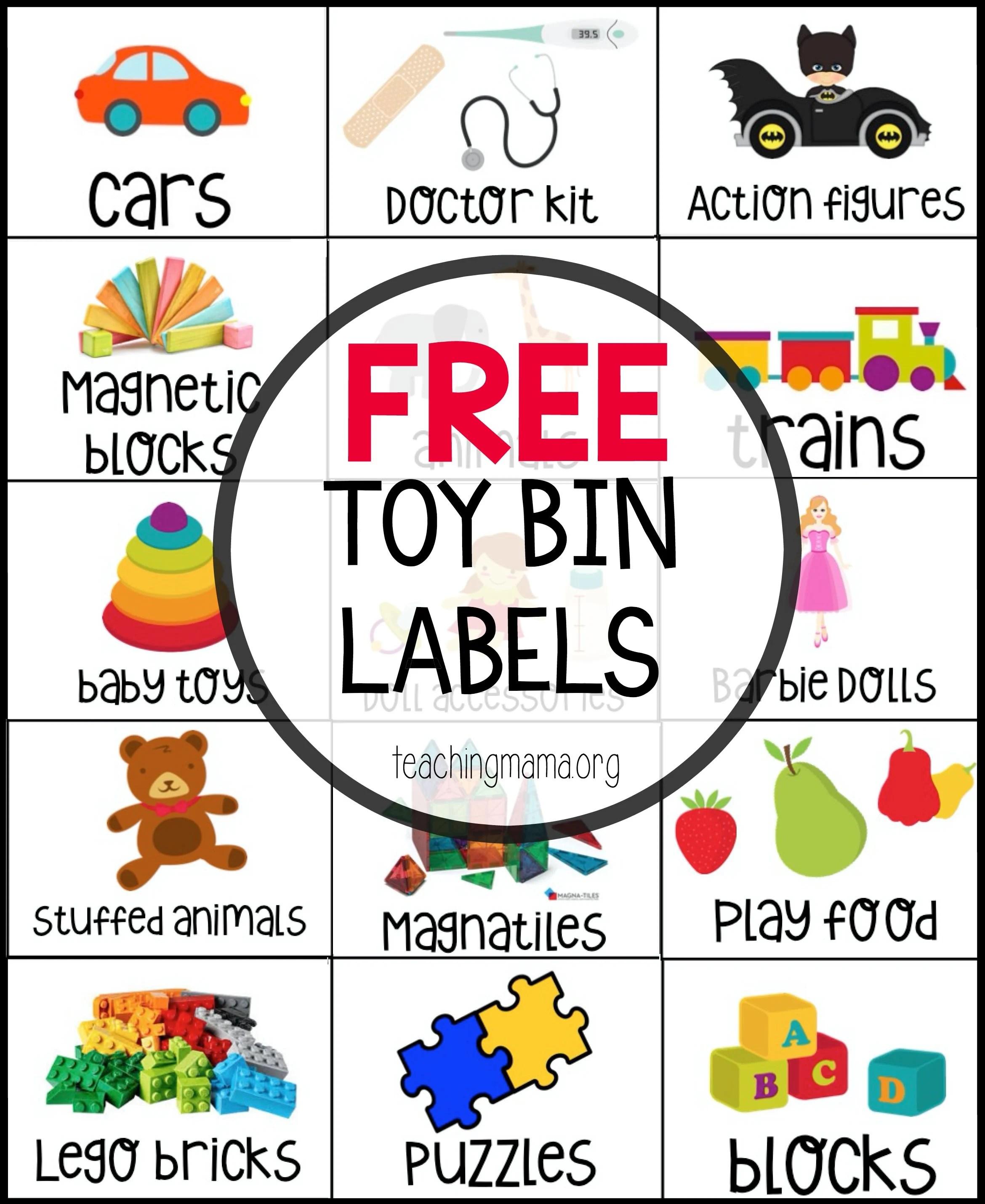 Free Toy Bin Labels