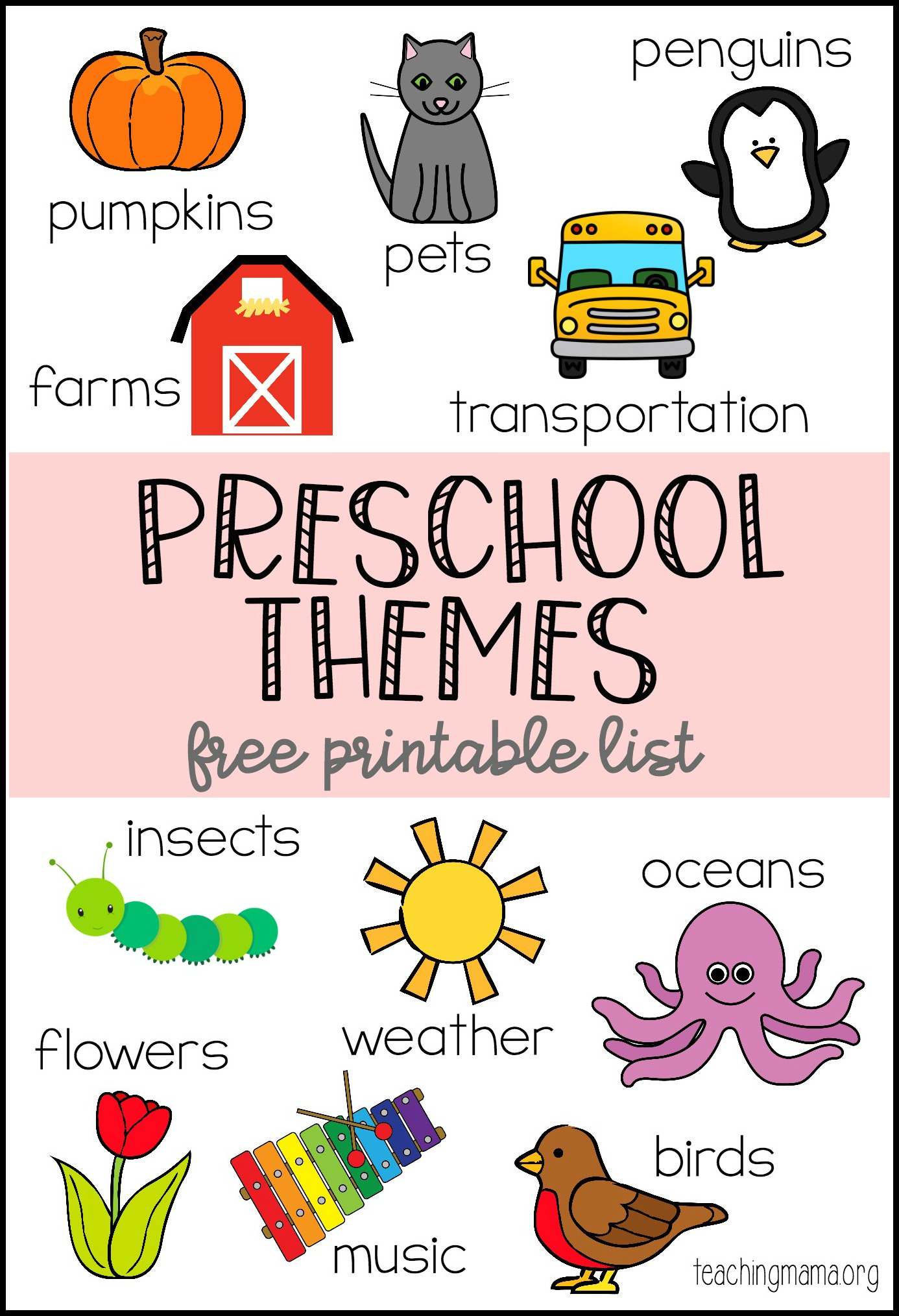 Preschool Themes Printable