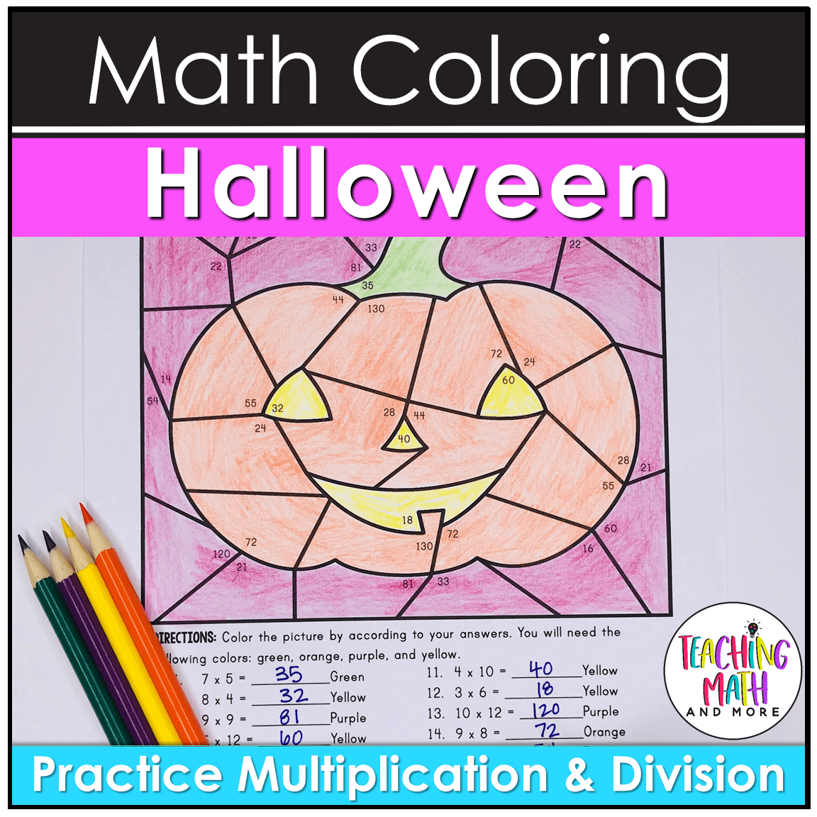 Halloween Math Coloring Multiplication Division Worksheets