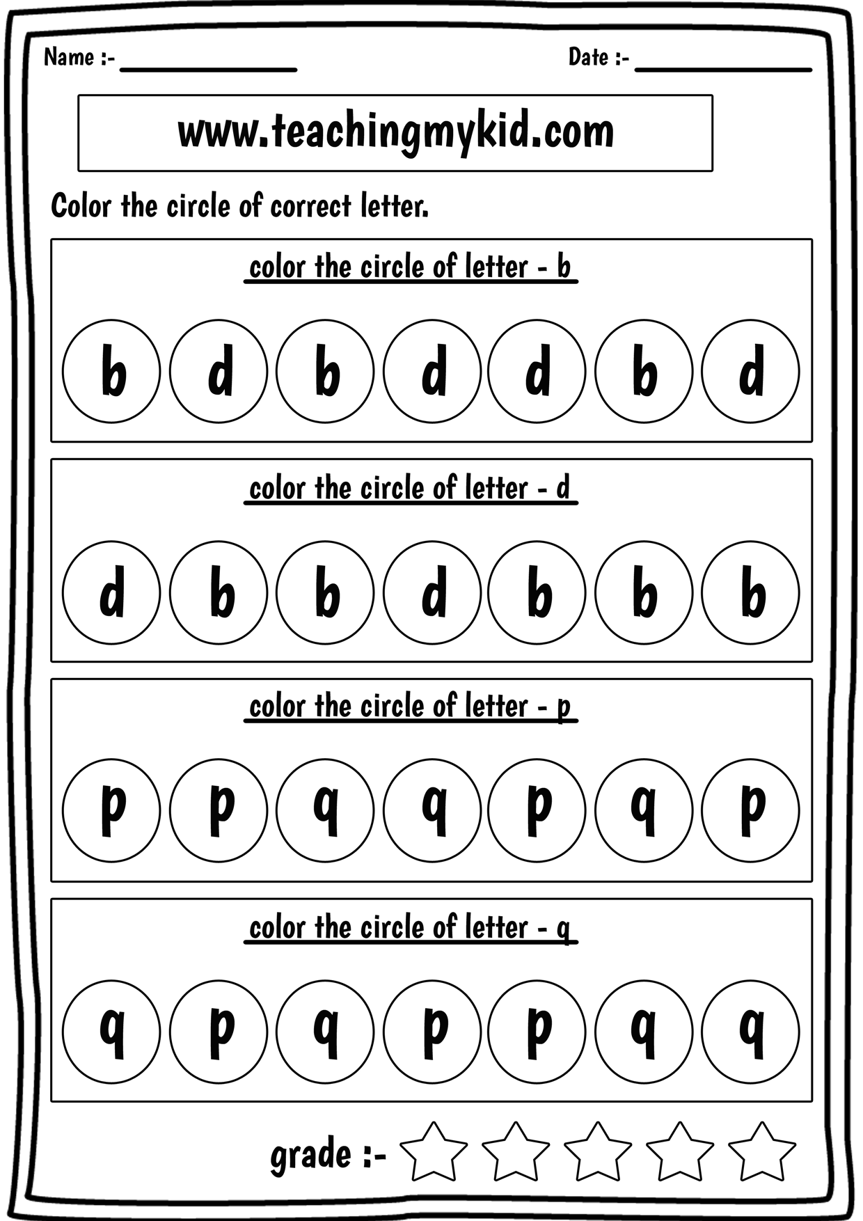 Printable Reversal Worksheets