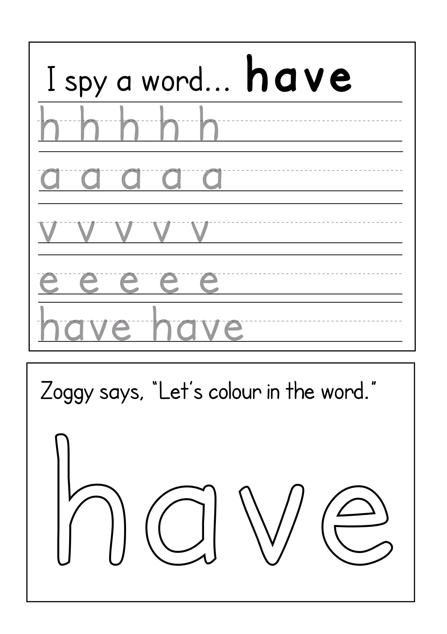 Worksheets To Reinforce Four Letter Sight Words 4 7 Years Teacha