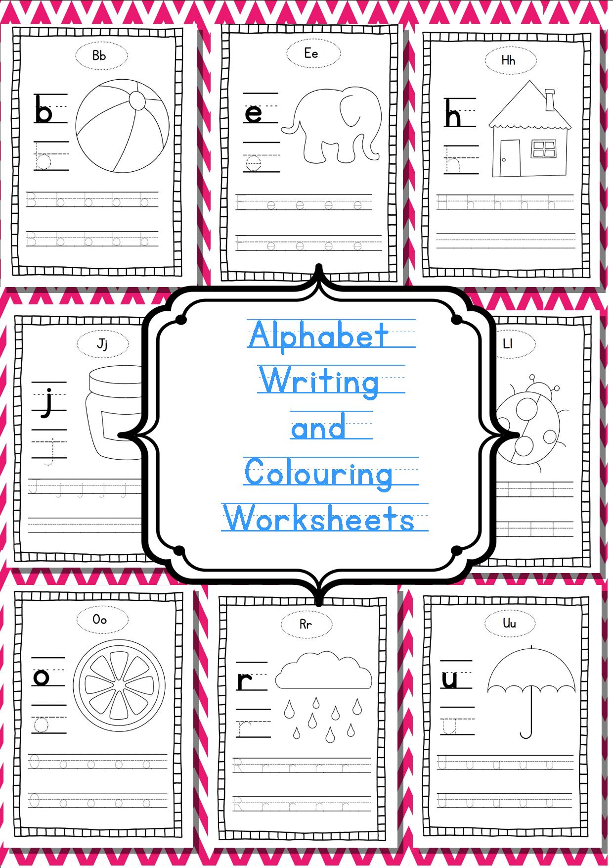 Alphabet Writing And Colouring Worksheets Guided