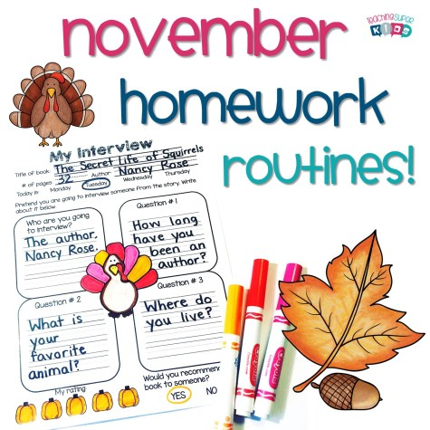 November Homework and spelling