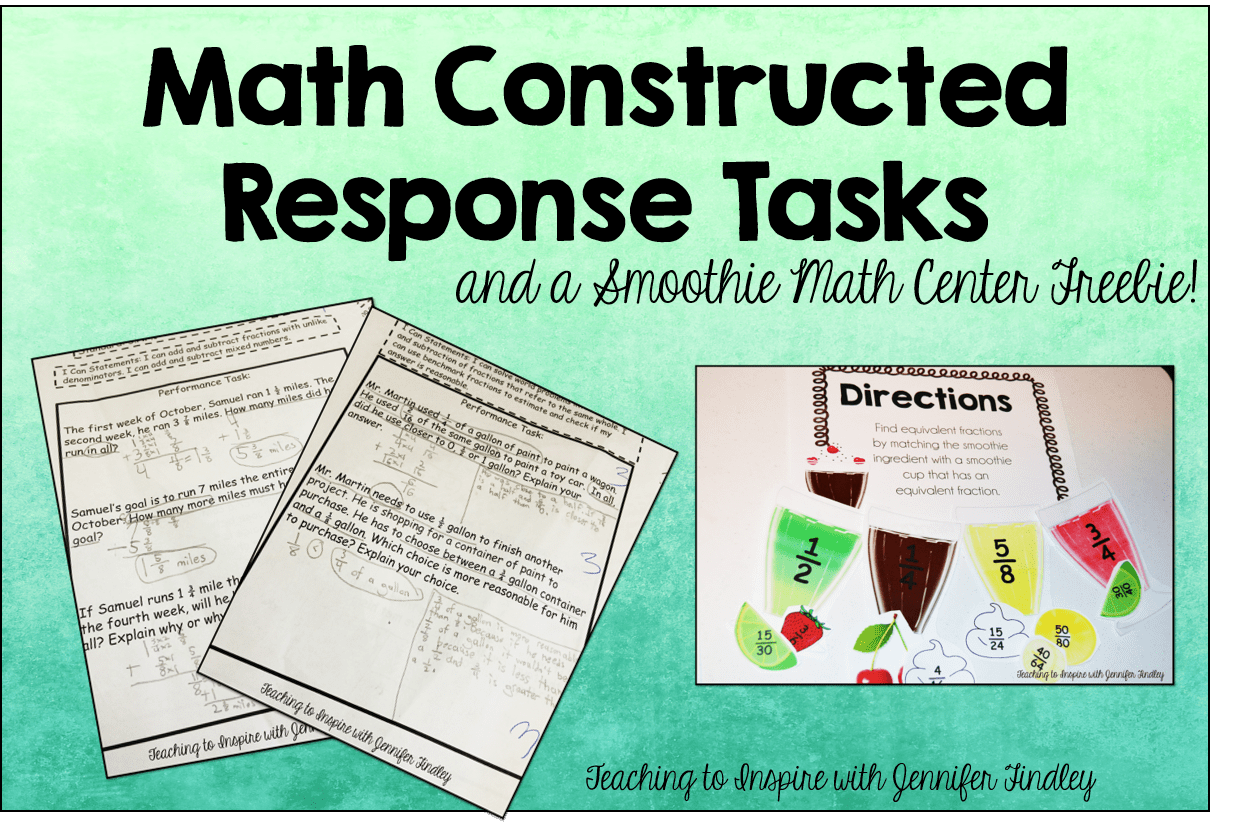Math Constructed Response Tasks And Smoothie Math Center