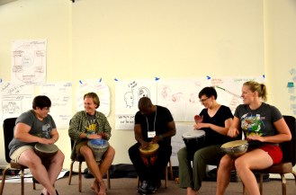 Becca, Zach, Alonzo, Kim, and Dia during the drum circle