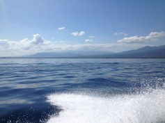 Our boat ride to Gili, leaving Lombok behind