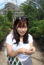 Dasom in the butterfly house of the Chicago Botanical Gardens