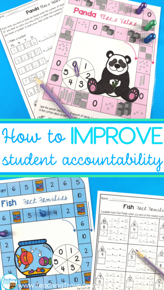 Make kids accountable during math center time