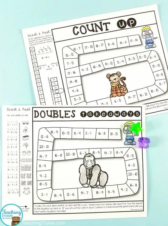 Send games home for homework. They make learning the addition and subtraction facts fun. And parents love them too!
