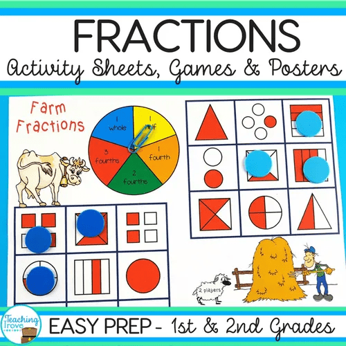 Fraction activity sheets games and posters