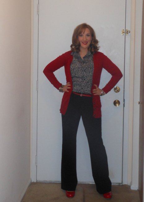 Red boyfriend cardigan: Target. Patterned blouse: Target. Black and silver earrings: Target? Red belt: (thrifted.) Black trousers: NY&Co. Silver watch: Fossil. Cuff bracelet: unknown. Red pumps: Target.