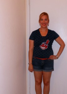 Cleveland Indian's t-shirt, navy tank top, denim shorts, red belt, red earrings