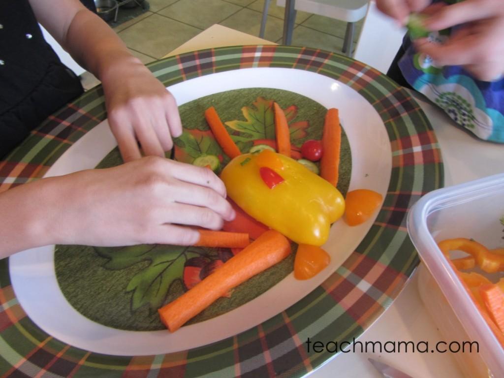 adding carrot feathers to veggie turkey