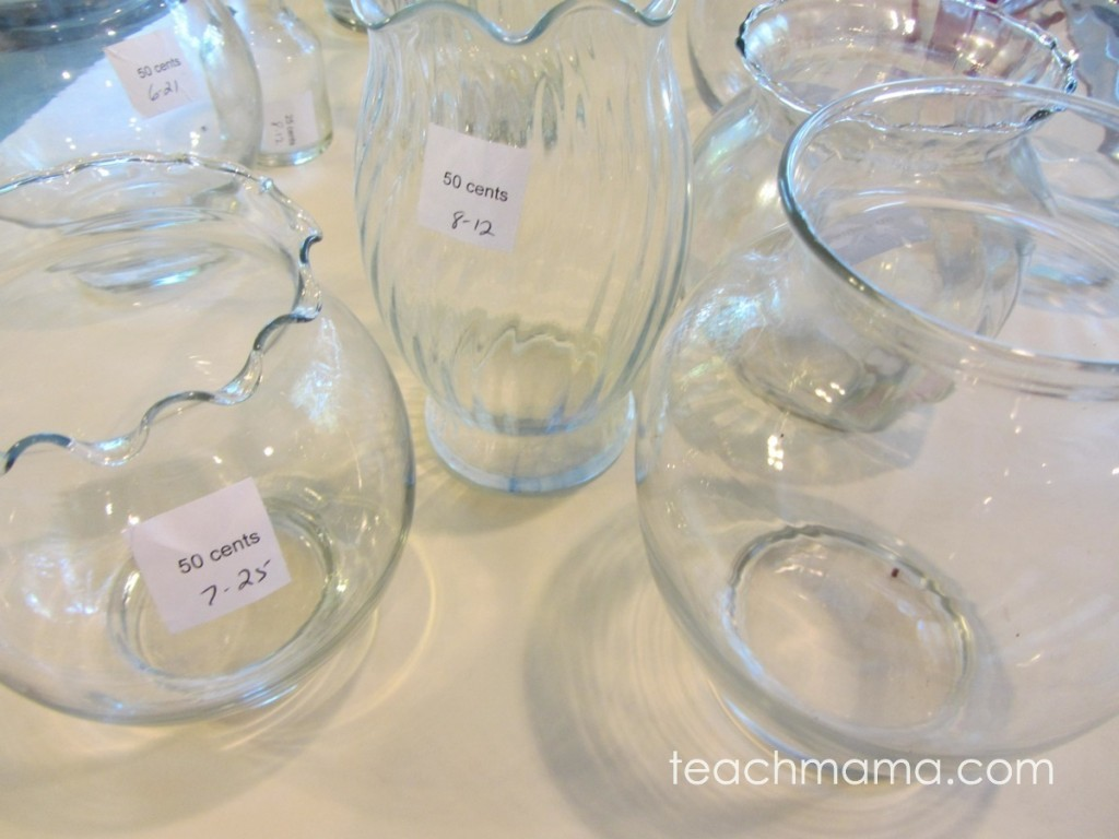 glass jars of different sizes