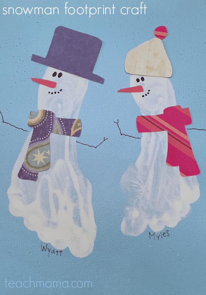 easy snowman footprint craft for kids | teachmama.com