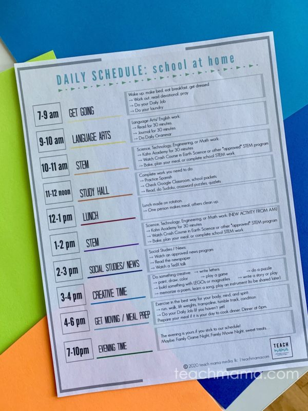 our coronavirus school schedule on colored paper