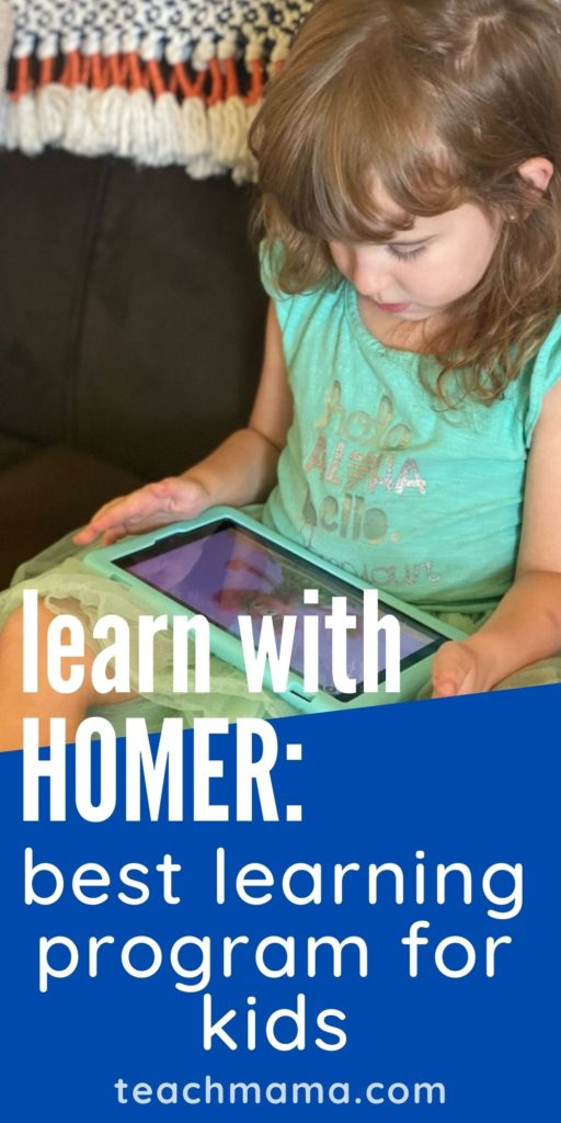 little girl playing with HOMER on tablet