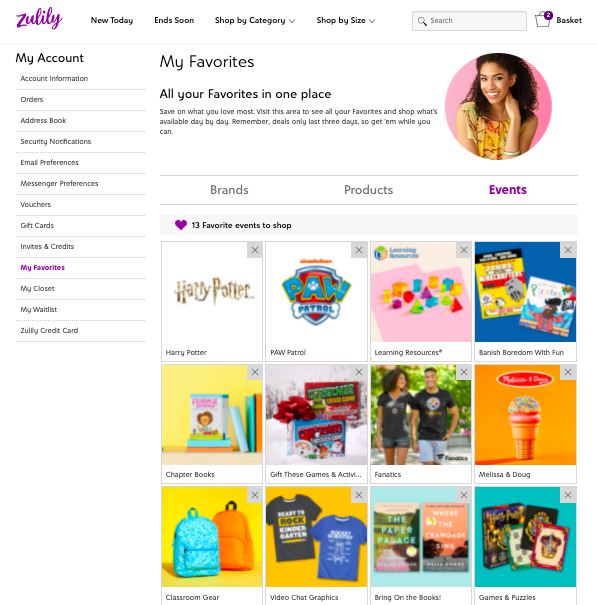 zulily favorites-- screenshot of all of my favorite brands on zulily