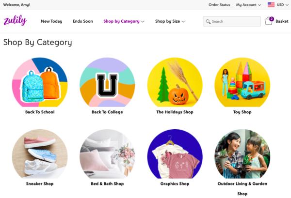 zulily shop by category screenshot