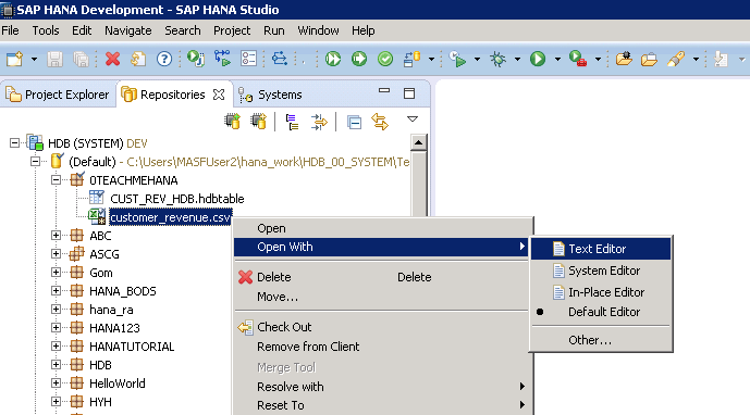 SAP HANA HDB TABLE DATA LOAD FLAT FILE CSV LOAD HDBTI