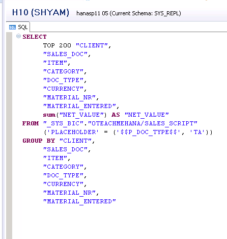 sap hana scripted calculation view execution