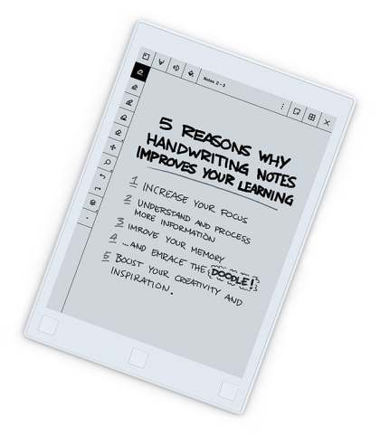 The Remarkable Tablet that feels like paper. Handwritten notes will be turned into typed notes.