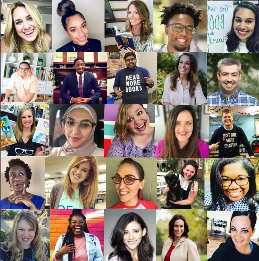 a grid of pictures of 25 teachers that will present at a teacher conference