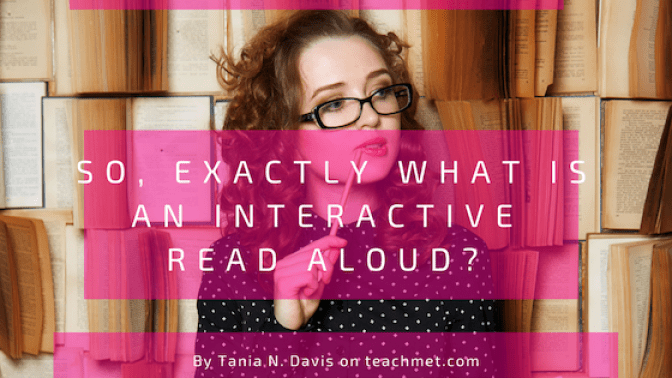 A blog image for interactive read alouds on the Teach Me T website.  An image of a white female, representing. teacher, with her head turned to the side with a pencil near her lips.  She is pondering and she is surrounded by rows of books that are open.