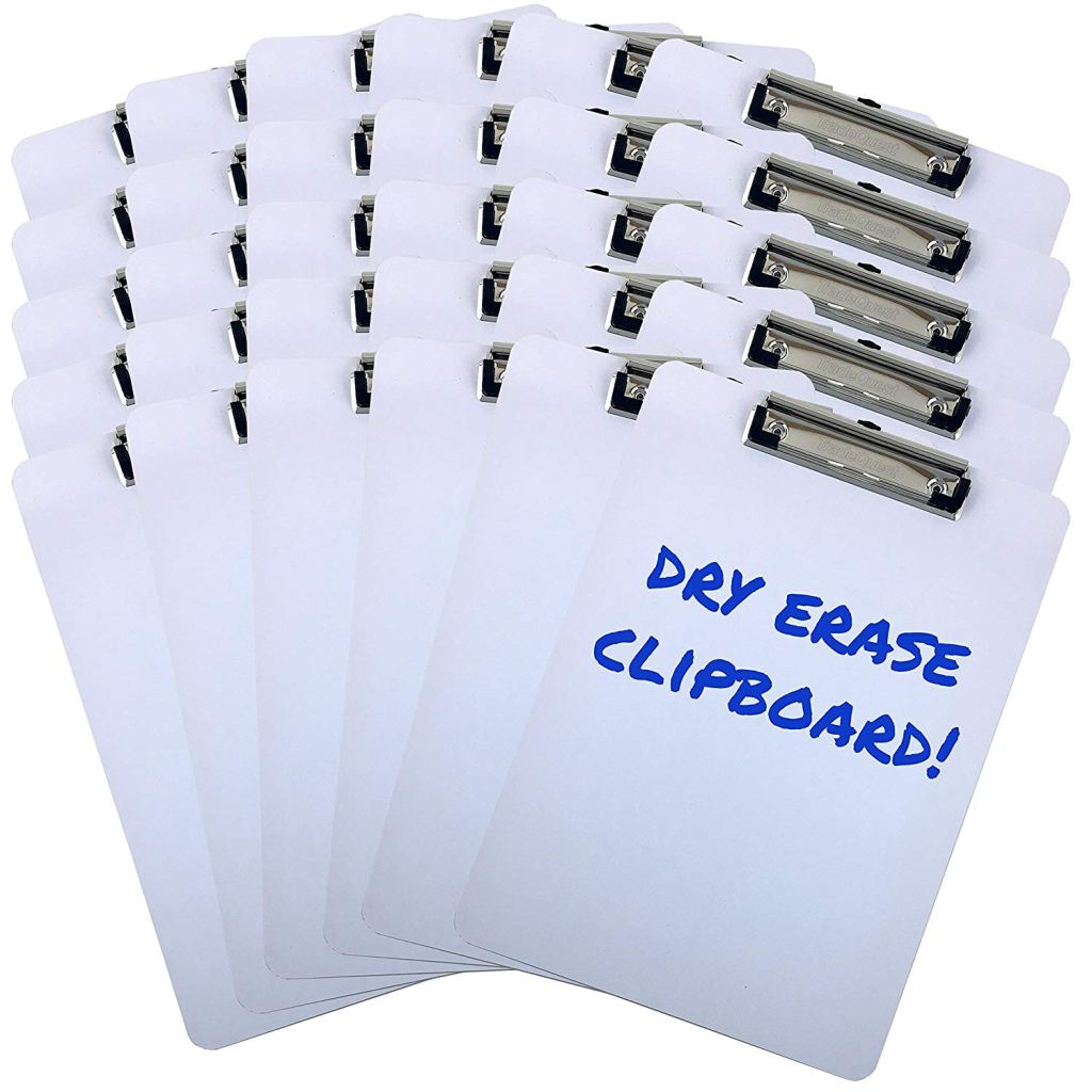 An image of 30 white clipboards that have clips for holding paper and pen holders.
