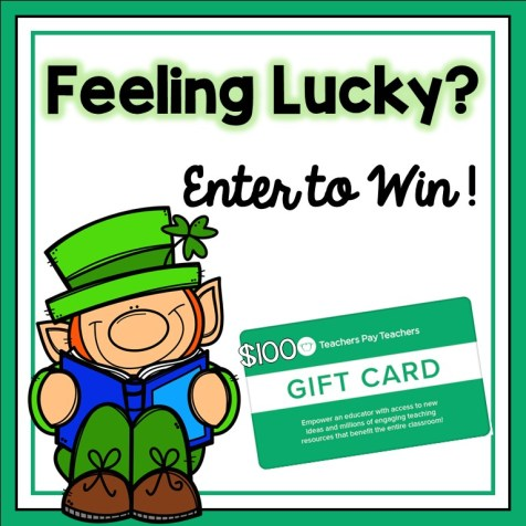 A square-shaped graphic with a smiling Leprechaun and an image of a Teachers Pay Teachers gift card for $100.