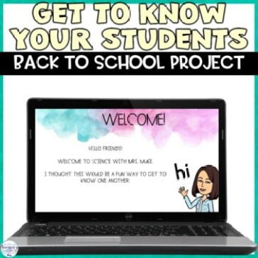 An image for getting to know your students, a back to school project