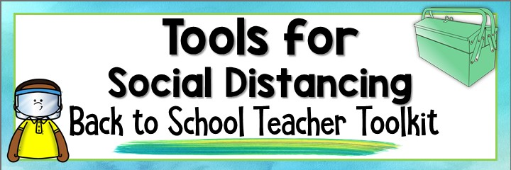 Blog image for the Back to School Teacher Toolkit that advertisizes resources for social distancing.  An image of a green toolbox and an African American boy wearing a yellow shirt and a face shield.