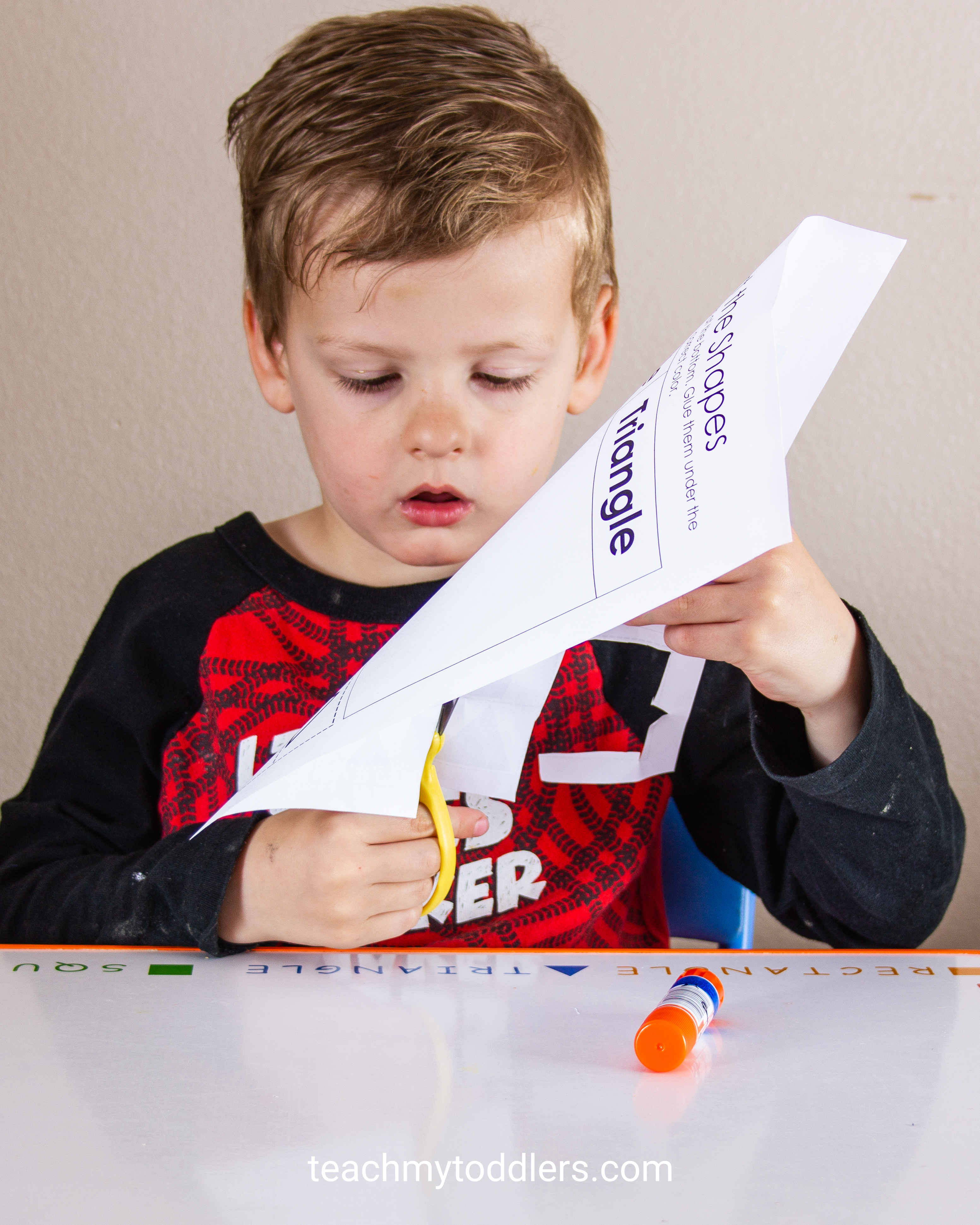 Shape Sorting Cut And Paste Activity Teach My Toddlers