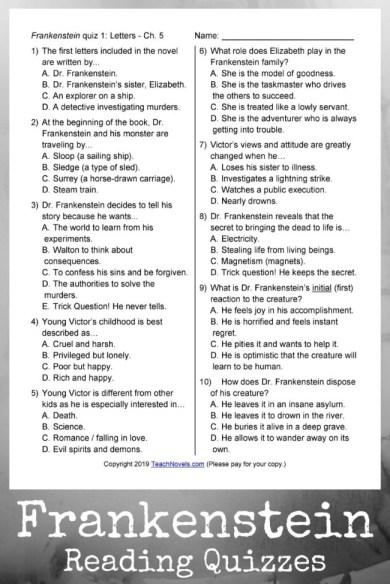 Frankenstein quizzes for teaching