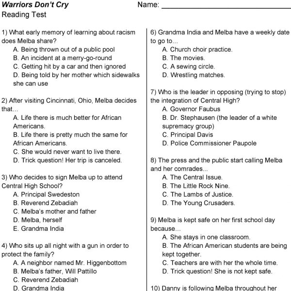 Warriors Don't Cry Reading Test