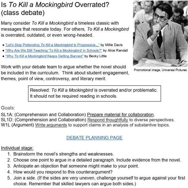To Kill a Mockingbird enrichment activity