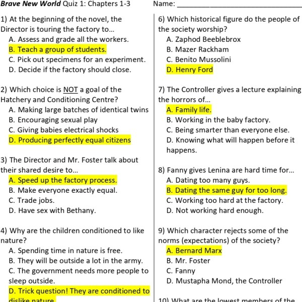 Brave New World Reading Quiz answer key