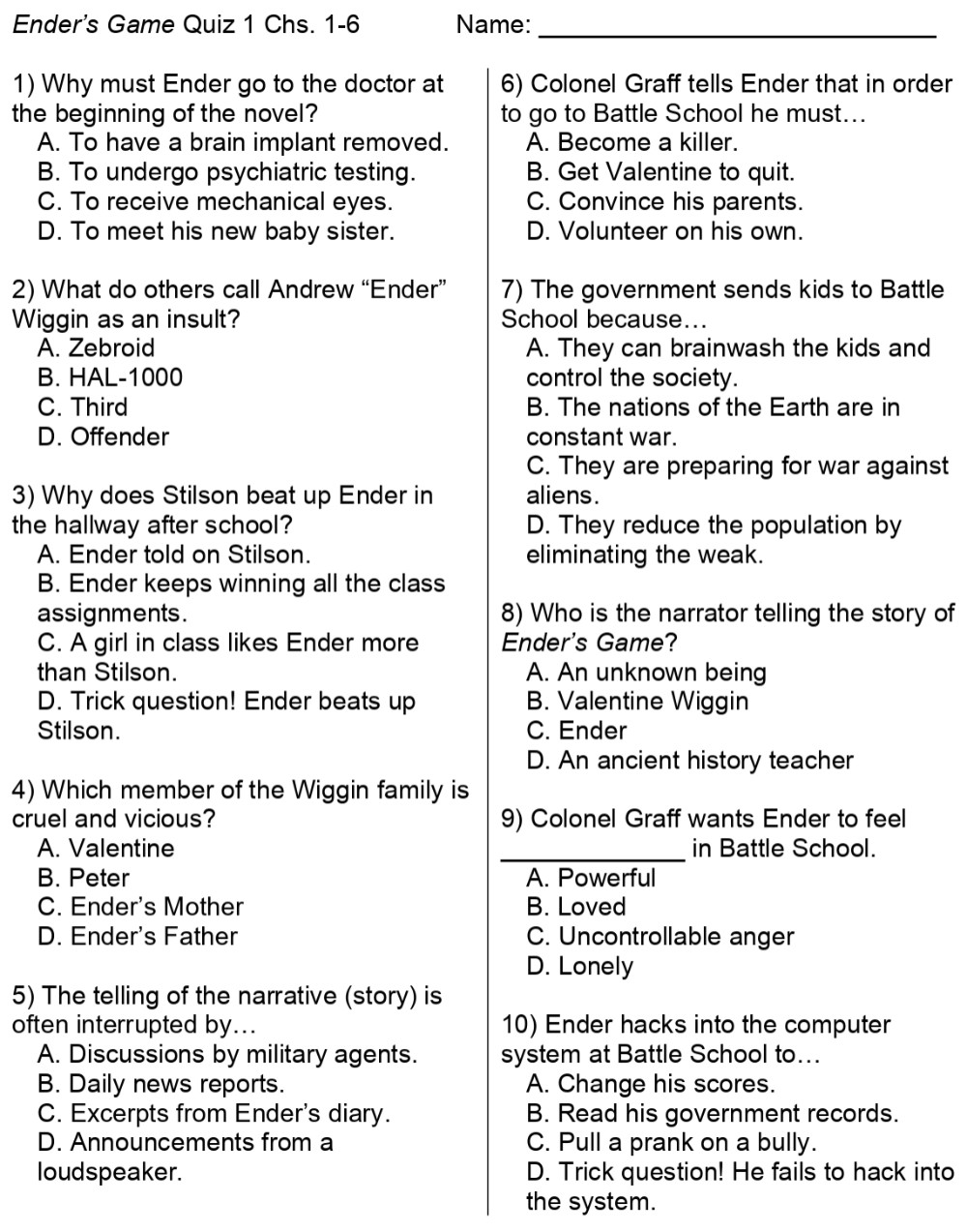 Ender's Game Comprehension Questions page 1