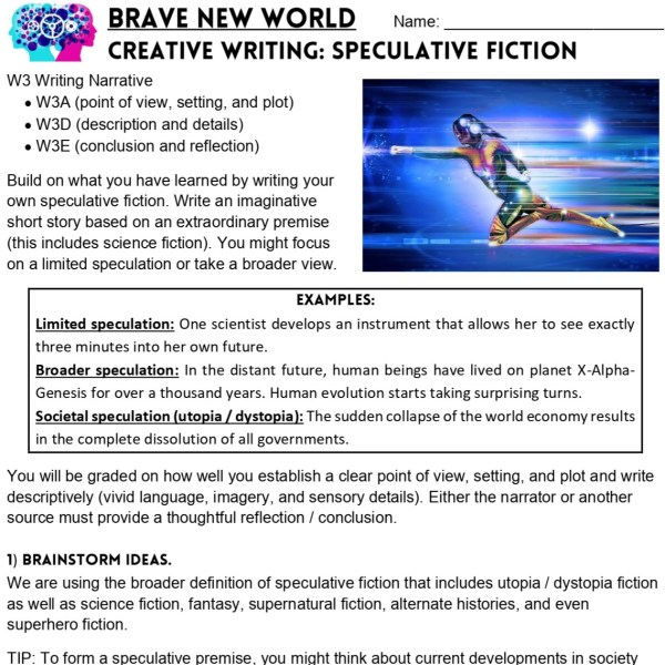 Brave New World writing assignment