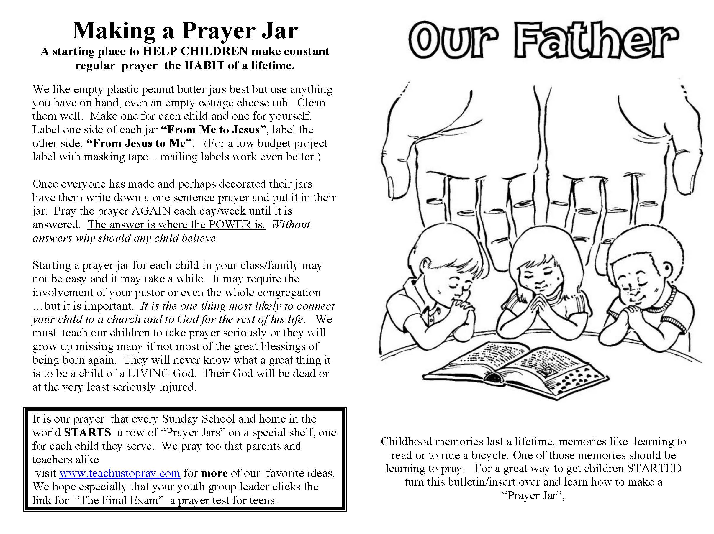 Lord S Prayer For Children Free Prayer Coloring And Prayer Crafts Prayer Helps For Kids