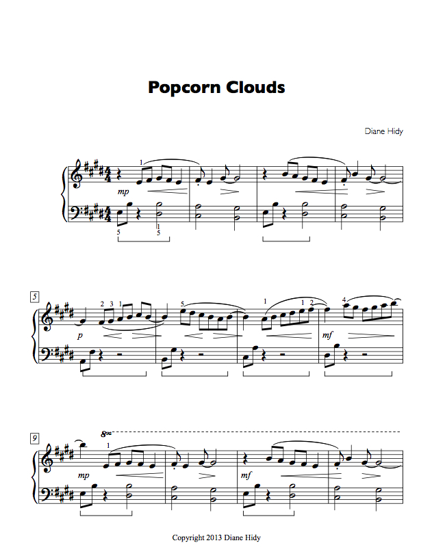 The first page of  Popcorn Clouds .