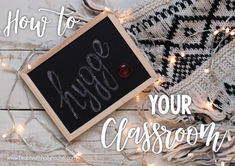 hygge classroom chalkboard and blanket