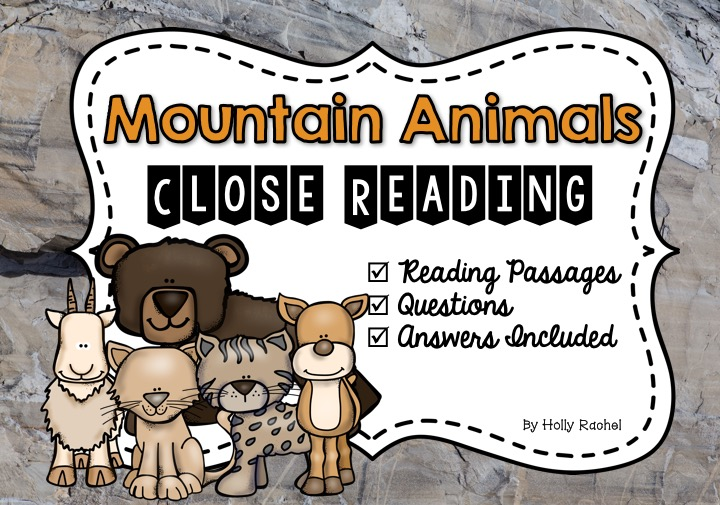 Close reading strategies mountain animals worksheets