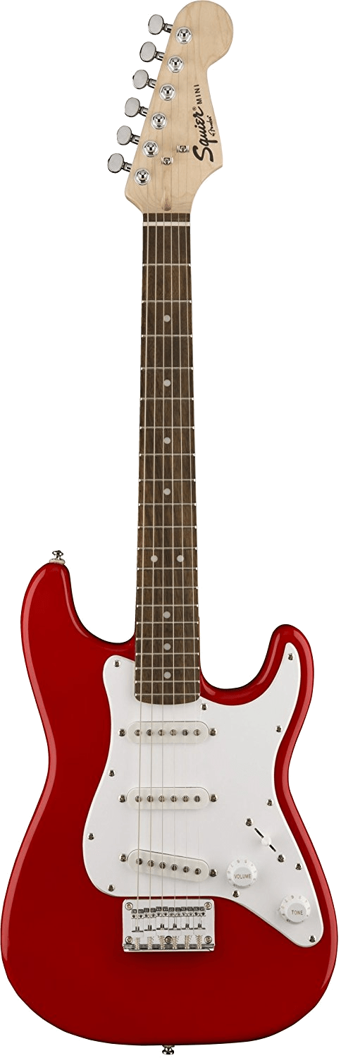 7 10 Electric Squier Mini Strat Red Trans