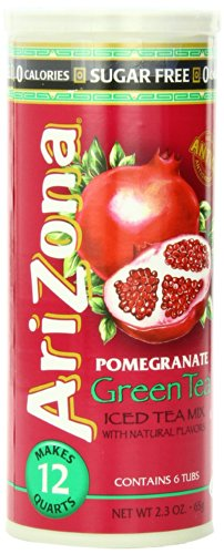 AriZona Sugar Free Pomegranate Green Tea Iced Tea Mix 2.4-Ounce Tubs in Canister(Pack of 6)