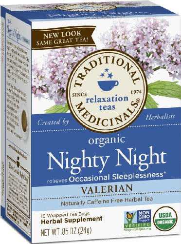 Traditional Medicinals, Nighty Night Valerian, Herbal Tea, 16 wrapped tea bags per box, 0.85 ounce